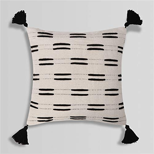 Sungea Black and White Decorative Lumbar Throw Pillow Covers, 12x20 Inch, Boho Farmhouse Modern Home Decor Woven Couch Cushion Case for Bedroom Living Room Sofa Car