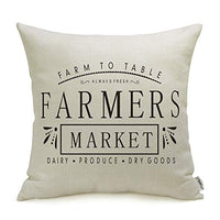 Farmhouse Pillow Covers with Farmers Market Quotes 18 x 18 Inch for Farmhouse Decor