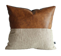Kdays Halftan Lumbar Pillow Cover Cognac Leather Decorative Throw Pillow Case Farmhouse Rectangular Sofa Couch Cushion Covers Modern Minimalist Color Block Pillow Cover 12x20 Inches
