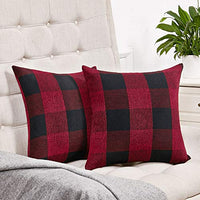 Set of 2 Black and White Buffalo Check Plaid Throw Pillow Covers Farmhouse Decorative Square Pillow Covers 18x18 Inches for Farmhouse Home Decor