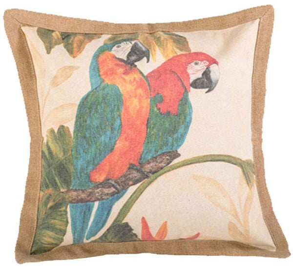 "vctops Decorative Throw Pillow Cover Parrots in Love Cotton Linen Rustic Farmhouse Square Cushion Case for Bench Sofa Couch Car Bedroom (Parrot A,20""x20"")"