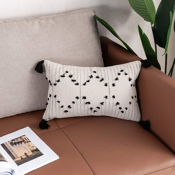 Ailsan Lumbar Throw Pillow Covers Boho Decorative Tribal Accent Pillow Black and White Cotton Linen Pillowcase Covers with Zipper Pillow Case for Sofa Couch Chair Car Seat