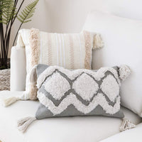 Tiffasea Lumbar Decorative Throw Pillow Cover, 12x20 Boho Tufted Pillow Case with Tassels Accent Cushion Cover Cotton Neutral Pillow Sham for Farmhouse Living Room Home Decor (12x20 Inch, Gray White)