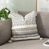 OJIA Lumbar Throw Pillow Covers, Modern Farmhouse Decor, Rectangle Woven Pillow Case with Tassel, Tribal Boho Chic, for Home Car Couch Cafe Office (12x20 Inch, Grey White)