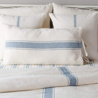 Home Collections by Raghu 15x27, Colonial Blue and Cream Grain Sack Stripe Lumbar Pillow Cover