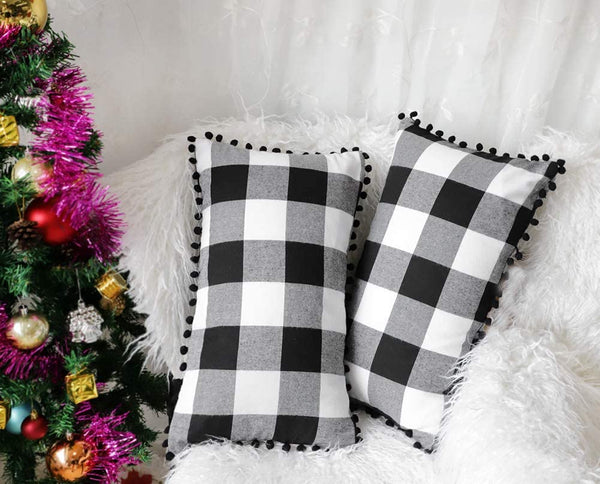 4TH Emotion Set of 2 Farmhouse Buffalo Check Plaid Throw Pillow Covers with Pompoms Cushion Case Cotton Polyester for Sofa Black and White, 12 x 20 Inches