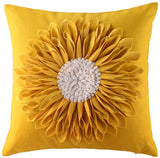 OiseauVoler Decorative Throw Pillow Cases 3D Sunflowers Handmade Cushion Covers Canvas Pillowcases Home Sofa Car Bed Room Decor 18 x 18 Inch Creamy White