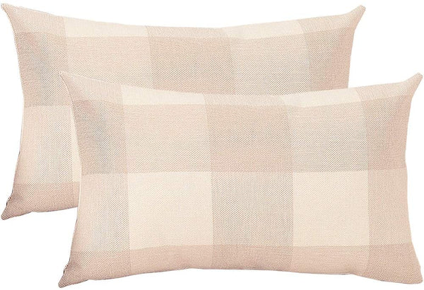 ASOONYUM Set of 2 Farmhouse Throw Pillows Covers Beige Plaid Pillowcase 12X20inch Cotton Linen Cushion Case for Home & House Decorative, Sofa Bedroom Car Décor