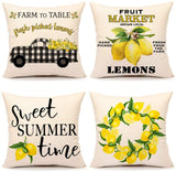 4TH Emotion Summer Lemon Farmhouse Quote Throw Pillow Cover Buffalo Truck Cushion Case for Sofa Couch 18 x 18 Inches Cotton Linen Set of 4