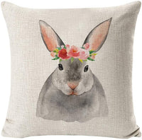 INSHERE Easter Rabbit Egg Throw Pillow Cover Cotton Linen Burlap Decorative Cushion Covers Pillowcase Cushion Case for Sofa Bedroom Car 18 x 18 Inch 45 x 45 cm (Easter Rabbit 1)