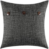 MIULEE Decorative Linen Throw Pillow Covers Cushion Case Triple Button Vintage Farmhouse Pillowcase for Couch Sofa Bed 12 x 20 Inch 30 x 50 cm Greyish White