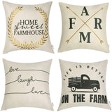 WLNUI Set of 4 Pillow Covers,18x18 Pillow Covers Black Farmhouse Linen Decorative Pillow Covers Housewarming Gifts