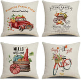 "KACOPOL Retro Vintage Wood Background Farm Fresh Lemon Buffalo Check Truck Pillow Covers Summer Farmhouse Decorative Cotton Linen Throw Pillow Case Cushion Cover 18"" x 18"" (Lemon Truck)"