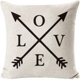 Rustic Farmhouse Geometry and Arrow Style Throw Pillow Cover Cotton Linen Decorative Cushion Covers Pillowcase Cushion Case for Sofa Bedroom Car 18 x 18 Inch 45 x 45 cm (Set of 4 Black and White)