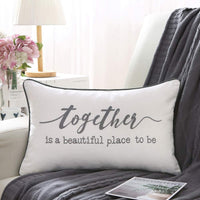 Sanmetex Thanksgiving Day Gift Together is My Favorite Place to Be Lumber Pillow Cover-Sweet Home Cushion Cover with Words for Sofa Couch 12 x 20 inch.(Ivory)