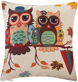 "Bursonvic Cartoon Pattern Throw Pillow Case Cushion Cover Square Home Farmhouse/Modern Decorative Cotton Linen Pillowcase for Sofa/Bench/Couch (Owl Couples, 18"" x 18"")"
