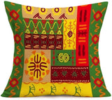 Smilyard Pillow Covers Africa Tribe Ethnic Pattern Cotton Linen Throw Pillowcase African Cultural Print Decorative Farmhouse Cushion Cover Pillow Case Decor Home18x18 Inch Set of 4 (African Style)