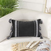Sungea Black and White Lumbar Throw Pillow Cover for Couch Sofa Bed, 12x20 Decorative Pillow Case Tribal Tassels Printing Accent Cushion Cover for Farmhouse Living Room Bedroom