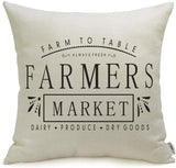 Meekio Farmhouse Pillow Covers with Gather Quotes 18 x 18 Inch Farmhouse Decor Housewarming Gifts for The Home