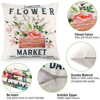 CDWERD 4pcs Spring Throw Pillow Covers Fresh Flower Market 18x18 Inches Spring Decorations Farmhouse Pillowcase Cotton Linen Cushion Case for Spring Home Décor