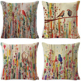 Rustic Farmhouse Abstract Oil Painting Throw Pillow Cover Cotton Linen Birds On The Trees Decorative Cushion Covers Pillowcase Cushion Case for Sofa Bedroom Car 18 x 18 Inch 45 x 45 cm (Bird Flower)