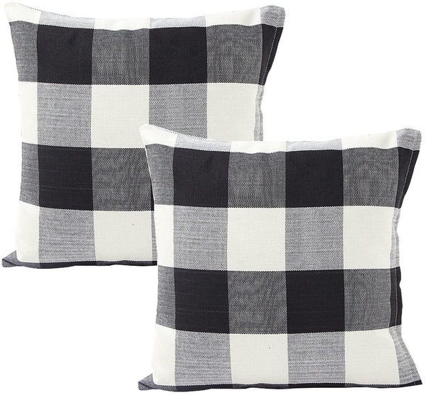 "Foucome 18"" Home Cotton Linen Car Bed Sofa Pillow Case Farmhouse Tartan Plaid Waist Cushion Cover,Set of 2, Black/White"