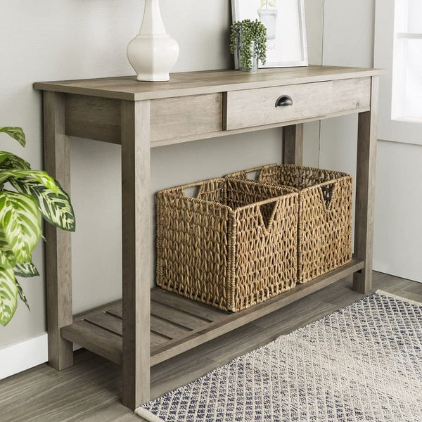 New 48 Inch Wide Country Style Sofa Table in Gray Wash Finish