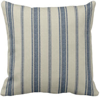Emvency Throw Pillow Cover Cotton Linen Navy Blue French Jacquard Stripe Decorative Cotton Linen Striped Home Decor Square 18 x18 Inch Cushion Pillowcase