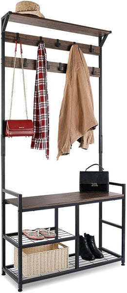 HOMEKOKO Coat Rack Shoe Bench, Hall Tree Entryway Storage Bench, Wood Look Accent Furniture with Metal Frame, 3-in-1 Design (Dark Brown)