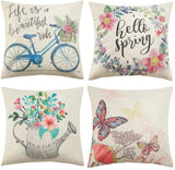 Anickal Spring Pillow Covers 18x18 Inch Set of 4 for Spring Decorations Hello Spring Wreath Bicycle Butterfly Decorative Throw Pillow Covers for Spring Home Farmhouse Decor