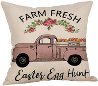 MeritChoice Easter Pillow Covers 18x18 Inch Easter Pillow Case Easter Pillows Egg Rabbit Farmhouse Decorative Throw Pillow Cover Set of 4 Cotton Linen