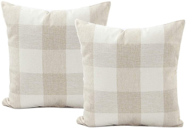 Bestjybt Buffalo Check Plaids Throw Pillow Covers Cotton Linen Pillow Cushion Case Retro Farmhouse Decoration for Couch Sofa Bed, 2 Pack (Beige, 18 x 18 inch)