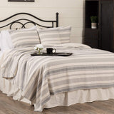"Piper Classics Farm Market Queen Coverlet Bedspread, 94"" x 94"", Urban Rustic Farmhouse Bedding, Striped Blanket in Natural Cream and Gray"