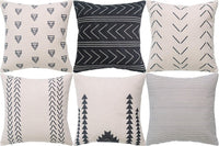 DEZENE Throw Pillow Covers for Couch,6 Pack,Natural Linen Look Fabric,Modern Geometric Patterns,Decorative Sofa Square Cushion Pillow-Cases,18 x 18 inch,Black