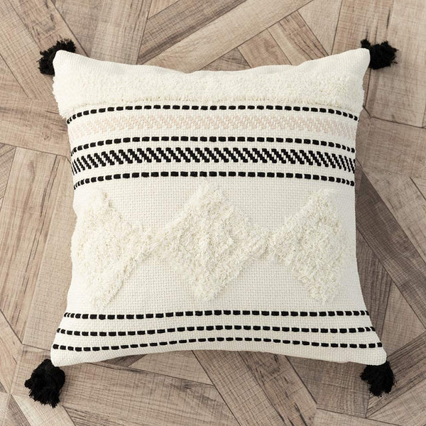 Ailsan Boho Tribal Tufted Throw Pillow Covers Modern Decorative Square Cushion Cover for Bedroom Living Room Farmhouse(Beige,18x18 Inch)