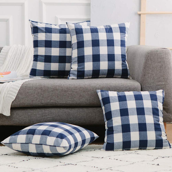 4 Pieces Navy Blue and White Cotton Retro Buffalo Check Plaid Decortive Throw Pillow Covers Farmhouse Cushion Case for Toddler Bench Sofa 18x18 inch