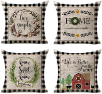 Kithomer Spring Summer Pillow Covers Fresh Flower Market 18x18 Inches Farmhouse Decorations Pillowcase Cotton Linen Cushion Case for Spring Home Décor Set of 4
