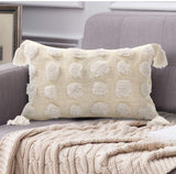 Ailsan Cotton Woven Lumbar Pillow Cover 12x20 Boho Decorative Cream White Spherical Tufted Pillow Case with Tassels,Hand Woven Accent Pillow Covers for Couch Bed Sofa Living Room
