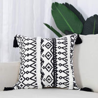 "cygnus Black and Off White Lumbar Pillow Cover 12""x20"" Woven Tufted Boho Lumbar Pillow Farmhouse Decor Cushion Cover (Black and White, 12x20 inch)"