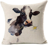 "Farmhouse Decoration Cow Throw Pillow Case Cushion Cover Cotton Linen 18"" x 18"""