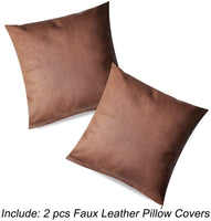 PANDICORN Set of 2 Brown Faux Leather Pillow Covers for Rustic Home Décor,Modern Farmhouse Accent Cognac Decorative Throw Pillow Cases for Couch Sofa Living Room, 18x18 Inch