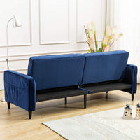 ANJ HOME Convertible Sofa Bed, Modern Tufted Velvet Fabric Futon Sofa Fold Up & Down Recliner Couch, Navy