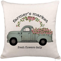 "YOENYY Farmers Market Flower Truck Throw Pillow Cover Cushion Case for Sofa Couch Farmhouse Home Decor Cotton Linen 18"" x 18"""