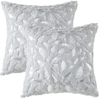Throw Pillows Covers 18 x 18,Set of 2 White Fur With Silver Embroider Sequins Soft Throw Pillows for Couch Bed,Accent Home Decorative Square Cushions Cases Shams Pillowcases Farmhouse,45 x 45 CM