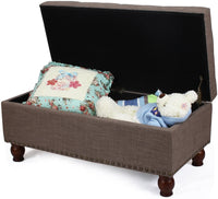 "Adeco New Faux Linen Fabric Retangular Tufted Lift Top Storage Ottoman Bench Footstool with Solid Wood Legs, Nailhead Trim, 40"" Long"