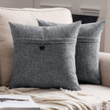 MIULEE Set of 2 Decorative Linen Throw Pillow Covers Cushion Case Button Vintage Farmhouse Pillowcase for Couch Sofa Bed 18 x 18 Inch 45 x 45 cm Greyish White
