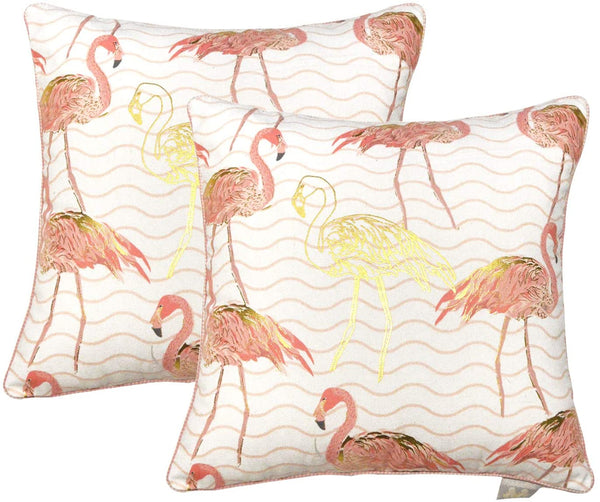 Hahadidi Set of 2 Spring Decorative Throw Pillow Covers 18x18 Inch(45x45cm) Farmhouse Pillowcases Summer Exquisite Crane Printing Pattern Cushion Covers(No Pillow Inserts) for Sofa Bedroom