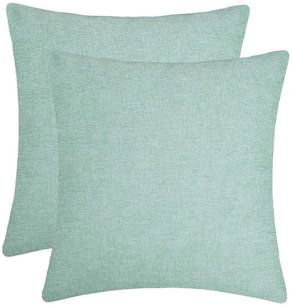 Jepeak Comfy Throw Pillow Covers Cushion Cases Pack of 2 Cotton Linen Farmhouse Modern Decorative Solid Square Pillow Cases for Couch Sofa Bed (Light Teal, 20 x 20 Inches)