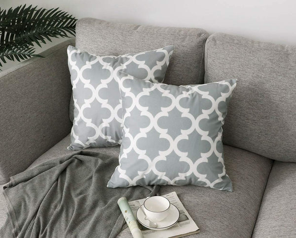 FanHomcy Accent Decorative Throw Pillow Cases Soft Microfiber Outdoor Throw Pillow Covers 18 x 18 for Couch Bedroom, Set of 4, Grey Quatrefoil Arrow Ogee Chevron Patterns