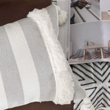 Striped Lumbar Small Decorative Throw Pillow Covers 12X20, Farmhouse Soft Woven Tufted Boho Pillows Cover with Tassels, Accent Cushion Pillows Case for Couch Sofa Bedroom Living Room, Grey and White